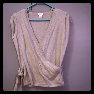 Short sleeved wrap sweater
